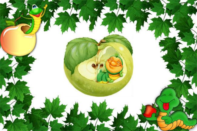 Червячок и яблочко